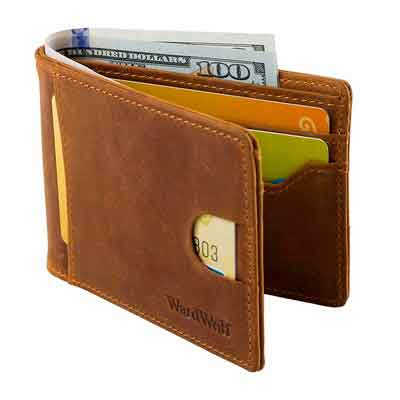 WARDWOLF Leather Bifold Wallets for Men Thin Slim RFID Blocking Front Pocket