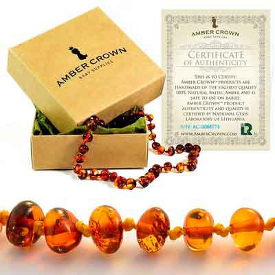 Amber Teething Necklace for Babies - Anti Inflammatory