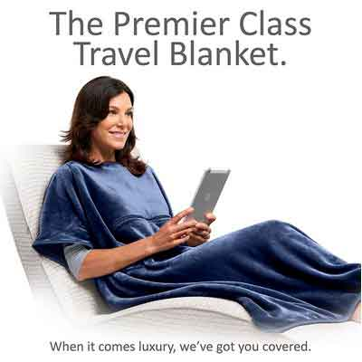 Travelrest 4-in-1 Premier Class Travel Blanket with Pocket - Covers Shoulders - Plush