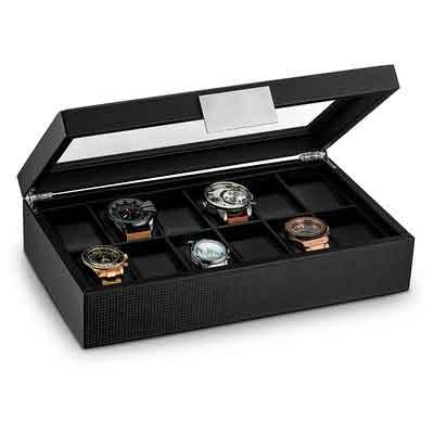 Glenor Co Watch Box for Men - 12 Slot Luxury Carbon Fiber Design Display Case