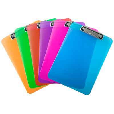 Trade Quest Plastic Clipboard Transparent Color Letter Size Low Profile Clip