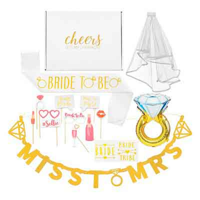 Bachelorette Party Decorations Kit--Bridal Shower Supplies with Cheers Gift Box: Veil & Bride-To-Be Sash